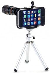iPhone con zoom y trípode